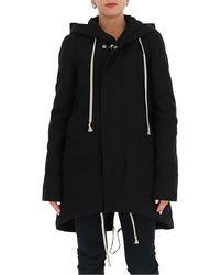 Rick Owens Drkshdw Drawstring Zipped Raincoat - Black