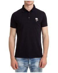 Karl Lagerfeld Short Sleeve T-shirt Polo Collar K/iconic - Black