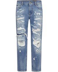 Dolce & Gabbana Distressed Straight-leg Jeans - Blue