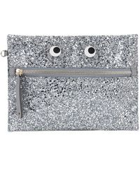 Anya Hindmarch Eyes Glitter Clutch Bag - Metallic