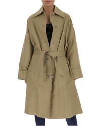 MM6 by Maison Martin Margiela Single-breasted Belted Trench Coat - Brown