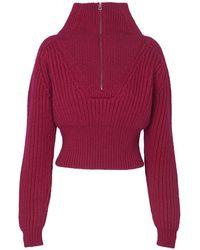 Jacquemus Mock Neck Sweater - Pink