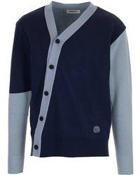 Ambush Asymmetric Buttoned Cardigan - Blue
