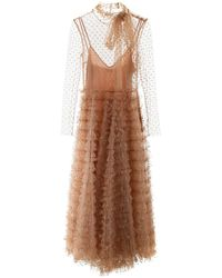 RED Valentino Ruffled Tulle Dress With Glitter Polka Dots - Natural