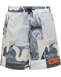 Heron Preston Patchwork Printed Swim Trunks - Grey