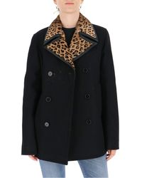Saint Laurent Contrasting Collar Double-breasted Coat - Black