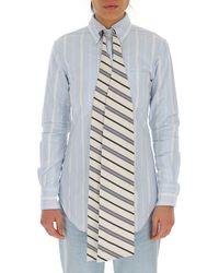 Thom Browne Striped Tie Shirt - Blue