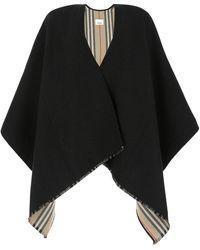 Burberry Icon Stripe Detail Reversible Cape - Black
