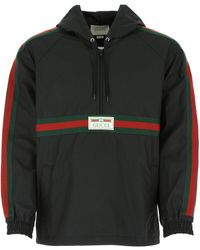 Gucci Coated Cotton Windbreaker With Label - Black