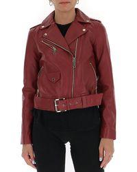 MICHAEL Michael Kors Belted Biker Jacket - Red