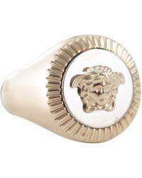 Versace Logo Engraved Medusa Ring - Metallic
