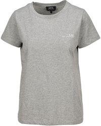 A.P.C. Logo Print T-shirt - Gray