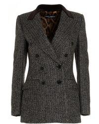 Dolce & Gabbana Houndstooth Tweed Blazer - Black