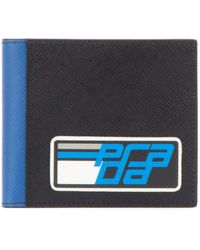 Prada Intarsia Saffiano Leather Wallet - Blue