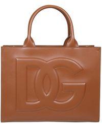 Dolce & Gabbana Logo Embossed Top Handle Tote Bag - Brown