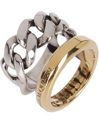 Alexander McQueen Logo Stacked Double Ring - Metallic