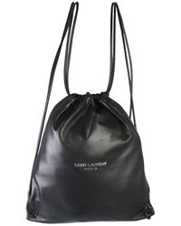 Saint Laurent Teddy Logo Drawstring Backpack - Black