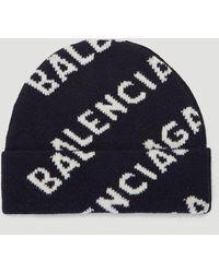 Balenciaga Intarsia Logo Beanie Hat - Blue