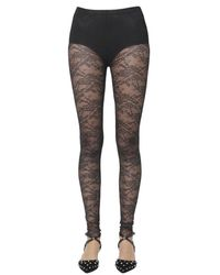 RED Valentino Floral Lace Tights - Black