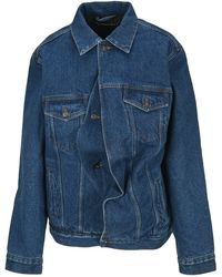 Y. Project Draped Denim Jacket - Blue