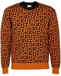 KENZO Logo Monogram Intarsia Jumper - Orange