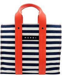 Marni Striped Top Handle Bag - Red