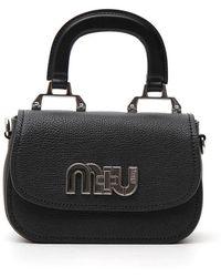 Miu Miu Scribbled Logo Tote Bag in Black - Lyst 11e1e9a2ea