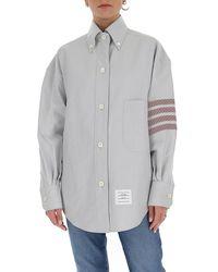 Thom Browne 4-bar Detail Oversize Shirt - Grey