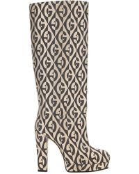 Gucci G Rhombus Platform Knee Boots - Multicolour