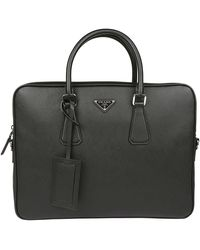 Prada Triangle Logo Briefcase - Black