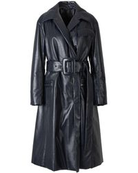 Proenza Schouler Leather Belted Trench Coat - Blue