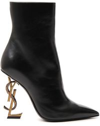 Saint Laurent *icon Black Opyum Ankle Boots In Calf Leather With Pointed Toe And Monogram-shaped Heel.