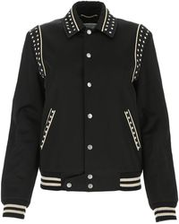 Saint Laurent Star-print Bomber Jacket - Black
