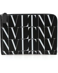 Valentino Garavani All Over Vltn Print Clutch Bag - Black