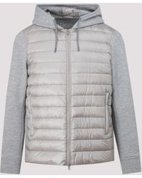 Herno Contrast Panel Hooded Jacket - Grey