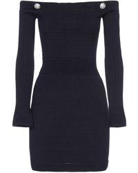 Balmain Off The Shoulder Knitted Dress - Black