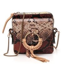 See By Chloé Snakeskin Effect Chain Strap Crossbody Bag - Brown