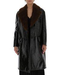 Prada Fur Collar Detaild Buttoned Coat - Black
