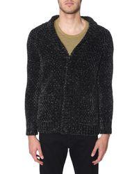 Saint Laurent Lurex Ciniglia Long Knitted Cardigan - Black