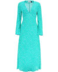 RIXO London Arielle Micro Floral Print Midi Dress - Green