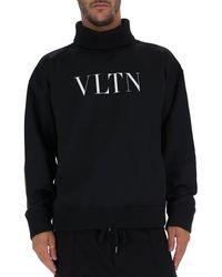 Valentino Vltn Logo Print Turtleneck Jumper - Black