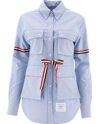 """Thom Browne """"4 Pocket"""" Oxford Shirt - Blue"""