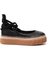 Prada Tie-up Ballerina Flatform Shoes - Black