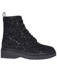 MICHAEL Michael Kors Haskell Glitter Combat Boots - Black