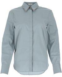 Brunello Cucinelli Collar Embellished Shirt - Blue