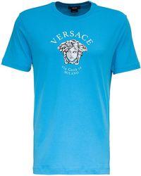 Versace Jersey T-shirt With Medusa Print - Blue