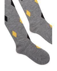 Prada Printed Wool Tights - Gray