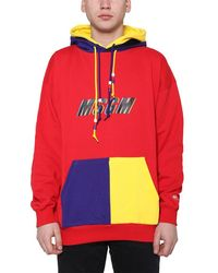 MSGM Contrast Logo Hoodie - Red