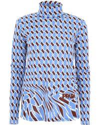 Prada High-neck Patterned Blouse - Blue