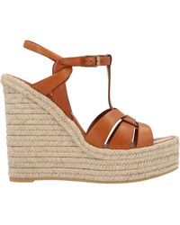 Saint Laurent Tribute Woven Leather Espadrille Wedge Sandals - Brown